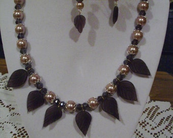 Purple Leaf Necklace with free earrings