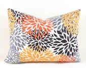 Lumbar Pillow Decorative Pillow Cover Floral Pillow Orange Pillow Premier Prints Blooms Chili Pepper