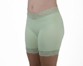 Cotton Slip Shorts Lace Trim Biker Short Sage Green Modesty Shorties Anti Chafe Tap Pants Pale Green Pajama Bottoms