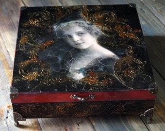 Decoupage Box, Tea box, Jewelry Storage Box, Victorian box, Vintage Box, Wooden decoupage,Black Box, wooden box, home decor, gothic box