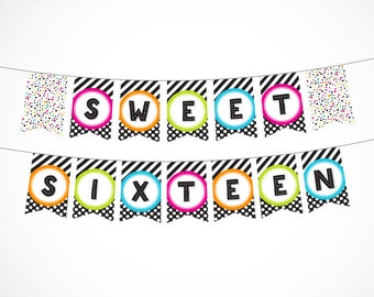 Sweet Sixteen Printable Banner in Black and Brights