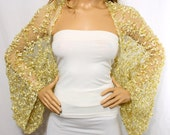 Wedding Shrug Knit Gold Shrug Cover Ups Shawls Wraps Long Sleeve Evening Shrug Weddings Bridal Accessories Shrugs Boleros Bridesmaids Gift