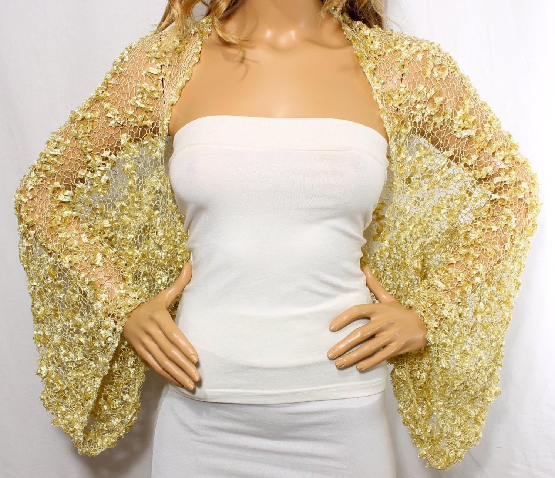 Wedding Shrug Knit Gold Shrug Cover Ups Shawls Wraps Long