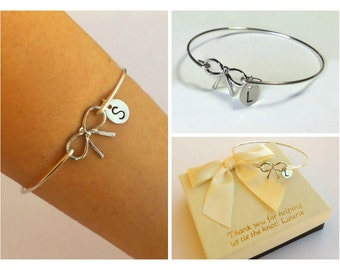 Personalize sterling silver bow bangle.Personalized Bracelet, Sterling silver Jewelry, Best friend bracelet