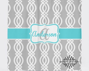 Trellis Shower Curtain - Gray and Aqua Shower Curtain -  Lattice Shower Curtain, Custom Monogrammed Curtain