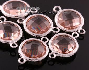 2pcs-12mmX12mm Rhodium Faceted Round shape Glass connectors(parallel)-Peach(M351S-H)