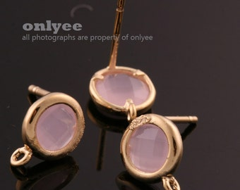 2pcs/1 pair-9mmX7mmGold plated faceted Round glass post earrings-Ice Pink(M355G-E)