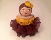 Fancy ball gown doll hand crafted using a vintage wood spool.