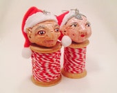 Grandma and Grandpa Ornament, handsculpted