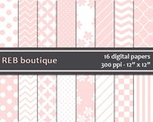 Pink and White Digital Paper - Chevron, flowers, polka dots, dots, diagonals, stripes, checker, quatrefoil, paper pack, scrapbooking 124
