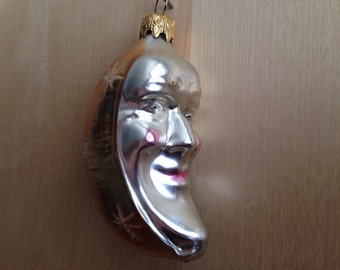 Vintage Mercury Glass Moon Christmas Ornament Man in the Moon West Germany