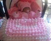 Baby Blanket Matchin Hat and Cardigan.Lime Green and White.and pink and white also blue and white
