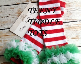 Christmas Leg Warmers, Baby Leg Warmers, Red and White Leg warmers with ruffles