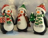 Hand painted bisque penguins- Buy one or set of three- Adorable decorative bisque penguins- Perfect Christmas decorations!
