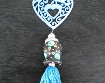 Aqua Scrollsaw Heart Tassel Ornament, Ceiling Fan Pull, Whimsical, Christmas Valentines Day, Beth Baker Artist, Handmade
