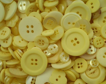 Yellow Sewing Button Mix 5 to 30mm