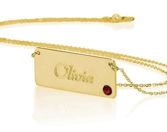 Bar Necklace Bar Penadnt Name Necklace 18k Gold - Name Bar Choose Any Name and Birthstone