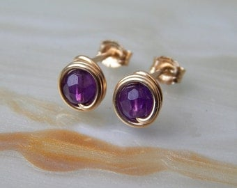 Tiny Amethyst Stud Earrings, 14k Gold Filled Amethyst Post Earrings, Small Stud Earrings, February BirthstoneGifts For Her