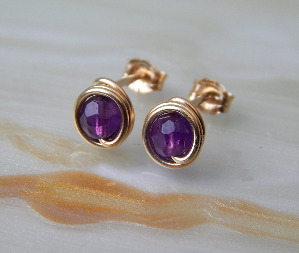 tiny amethyst stud earrings 14k gold filled amethyst post. Black Bedroom Furniture Sets. Home Design Ideas