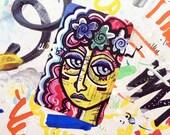 "Zombie Flower Child sticker - 3.5""x2.5"" - original art print graffiti sticker"