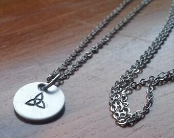 Celtic Custom Single Stamp Silver Charm Pendant Necklace