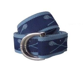 Lacrosse Belt / D-Ring Belt / Canvas Belt / Preppy Webbing Belt for Men, Women and Children/Light Blue Lacrosse