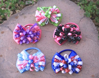 "Mini 3"" Polka Dotted Bow Pony Tail Holders-Choose Color!"