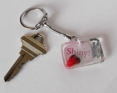 Keychain Firefly Shiny Polymer Clay Strawberry and Wrench Resin