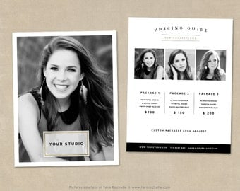 Pricing Template, Photography Price List, Pricing List, Senior Photography Marketing, Photography Pricing Template, Photographer Templates