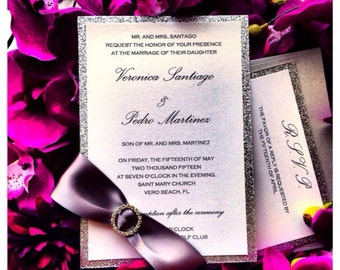 Rhinestone Buckle Wedding Invitations, Silver Glitter Wedding Invitation with rhinestone ribbon belt and RSVP card