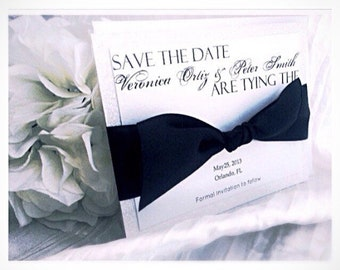 Wedding Save the Date, Black Tie Save the Date, white wedding save the dates, VPElegance