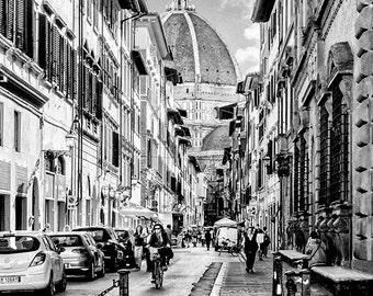 Italian Street Scene Florence Dome Church Black and White Fine Art Print Italy Wall Art Home Decor