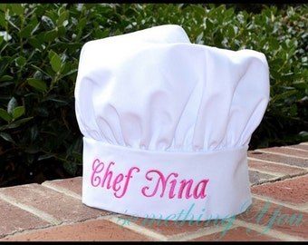 Personalized Chef Hat with Name Embroidery - Mens or Womens chef hats, adjustable culinary hats, custom baking hats, kitchen baking hats