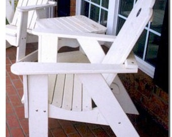 A plan for a Simple Adirondack Chair that is easy to make, and easy on the pocket book.