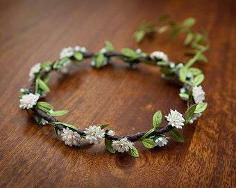 Ivory Aster + Rosebud : Boho Flower Crown ... WEDDINGS, CHRISTENINGS, FLOWERGIRLS