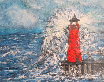Fine Art-Original Oil Painting-Great Lakes- Lighthouse-Wall Decor- Waves-Winter Finds-Blue-Red-2014 Gift Idea-Sailing-Great lakes-nautical