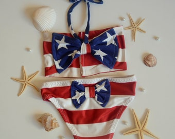 Baby girl swimwear-American Flag bow bandeau and matching bow bottoms-American Flag girls bikini set -Children swimwear -July 4th swimwear