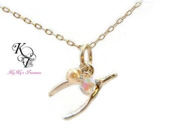 Wishbone Necklace, Everyday Necklace, Sterling Silver Necklace, Wishbone, Gift for Her, Birthday Gift, Wishbone Pendant, Wishbone Jewelry