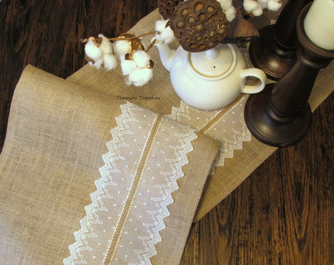 Table Runner Burlap & Lace -Natural Ivory- Rustic Wedding, Home Decor, Wedding Decor, Rustic Decor, Rustic Table Runner, Primitive Runner