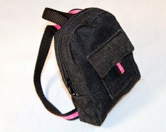 18-inch doll backpack- Black Denim with Pink Trim