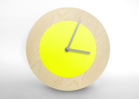 Hey Fishy - Modern fluorescent yellow designer wall clock