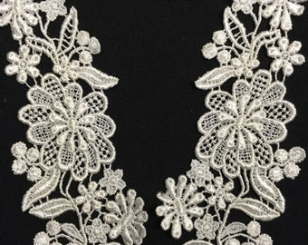 "Item: A0134, 2 Pairs, 6""X2.5"" Pretty Floral Pair Venice Lace"