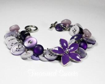 Purple Button Bracelet, Button Bracelet, Button Jewelry, Purple Bracelet, Charm Bracelet, Flower Bracelet