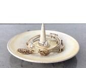 Cream & Tan Ceramic Ring Holder and Jewelry Dish