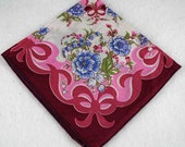 Vintage Hankie Handkerchief - Mauve, Pink, Blue for Collecting, Framing, Sewing, Crafts, Collage    M2
