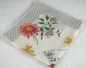 Vintage Hankie Handkerchief - White, Gray, Pink and Yellow for  Framing, Sewing, Crafts, Collage    M23