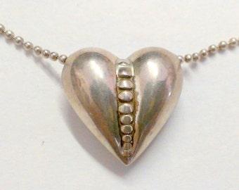 Vintage Sterling Silver Puffy Heart Slide Pendant / Necklace 925