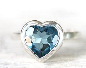 Heart ring  - london blu topaz - gemstone open back pattern - ready to ship size 5