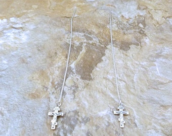 Sterling Silver Small Crucifix Charms on Sterling Silver Threader Earrings - 3484