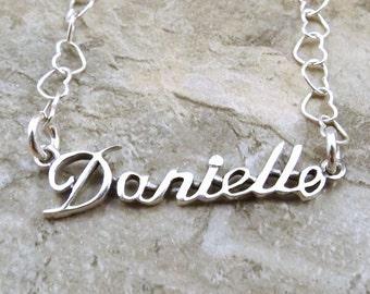Sterling Silver Name Necklace -Danielle- on Sterling Silver Heart Chain in Length of Choice -1493